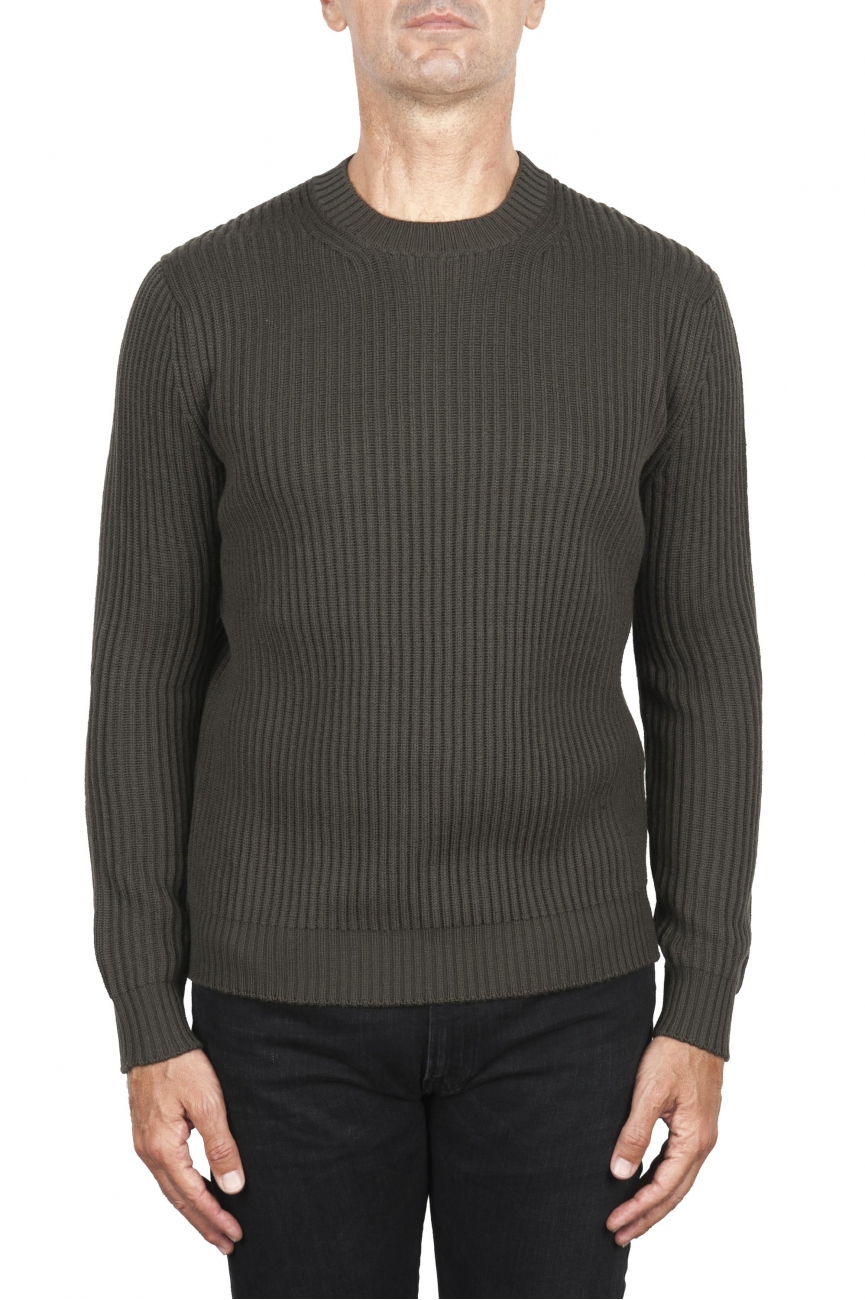 SBU 03003_2020AW Green ribbed knit crew neck sweater 01