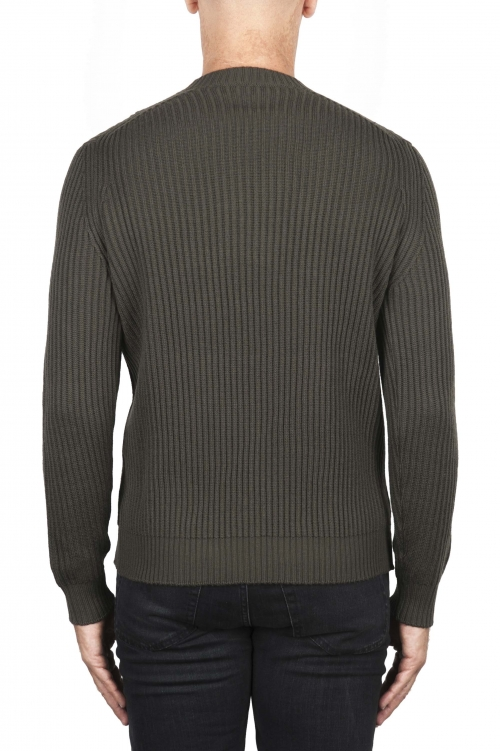 SBU 03003_2020AW Green ribbed knit crew neck sweater 01