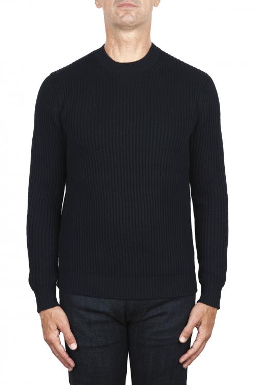 SBU 03004_2020AW Maglia girocollo in lana costa inglese blu navy 01