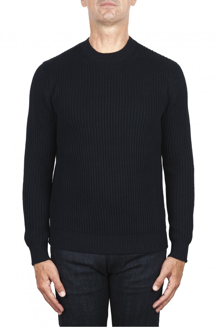 SBU 03004_2020AW Navy blue ribbed knit crew neck sweater 01