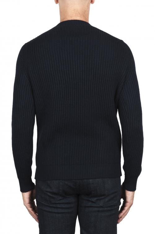 SBU 03004_2020AW ネイビーブルーのリブ編みニットクルーネックセーター 01