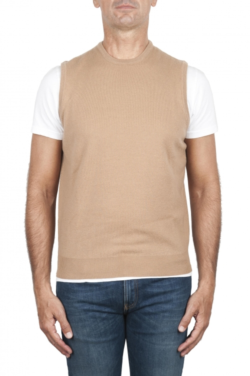 SBU 03005_2020AW Camel round neck merino wool and cashmere sweater vest 01