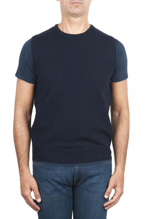SBU 03006_2020AW Blue round neck merino wool and cashmere sweater vest 01