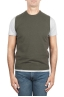 SBU 03007_2020AW Green round neck merino wool and cashmere sweater vest 01