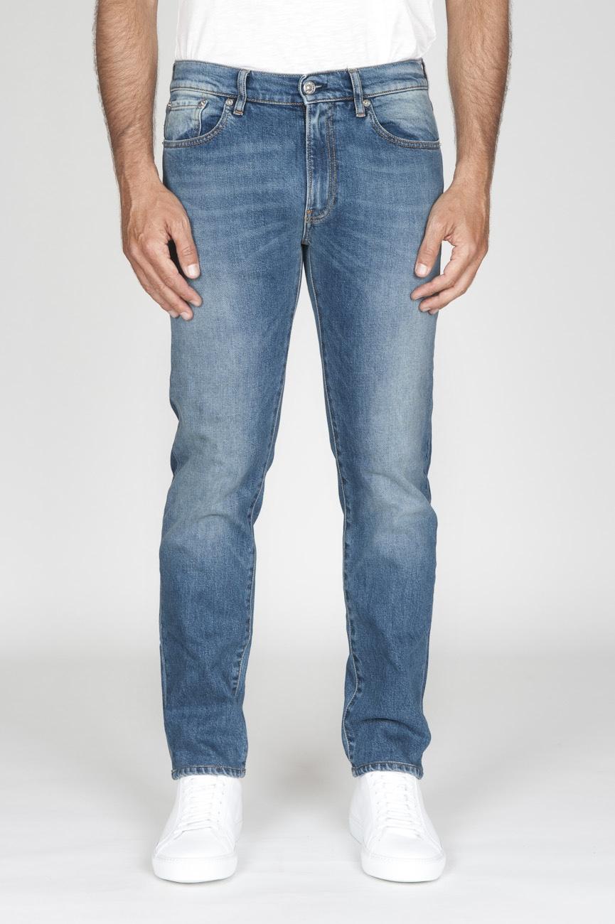 Original Indigo Dyed Japanese Stretch Denim Stone Washed Light Blue Jeans