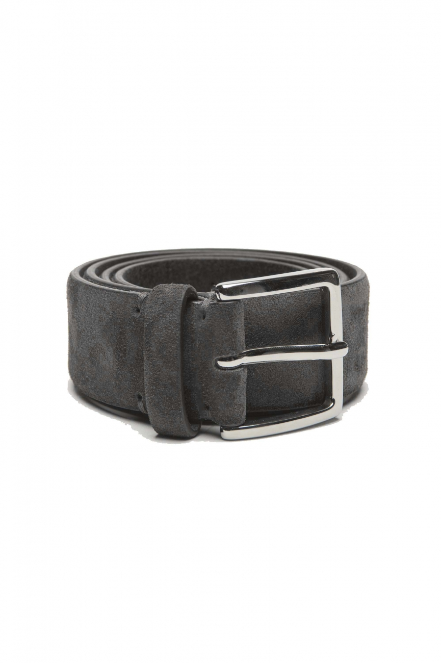 SBU 03010_2020AW Grey calfskin suede belt 1.4 inches  01