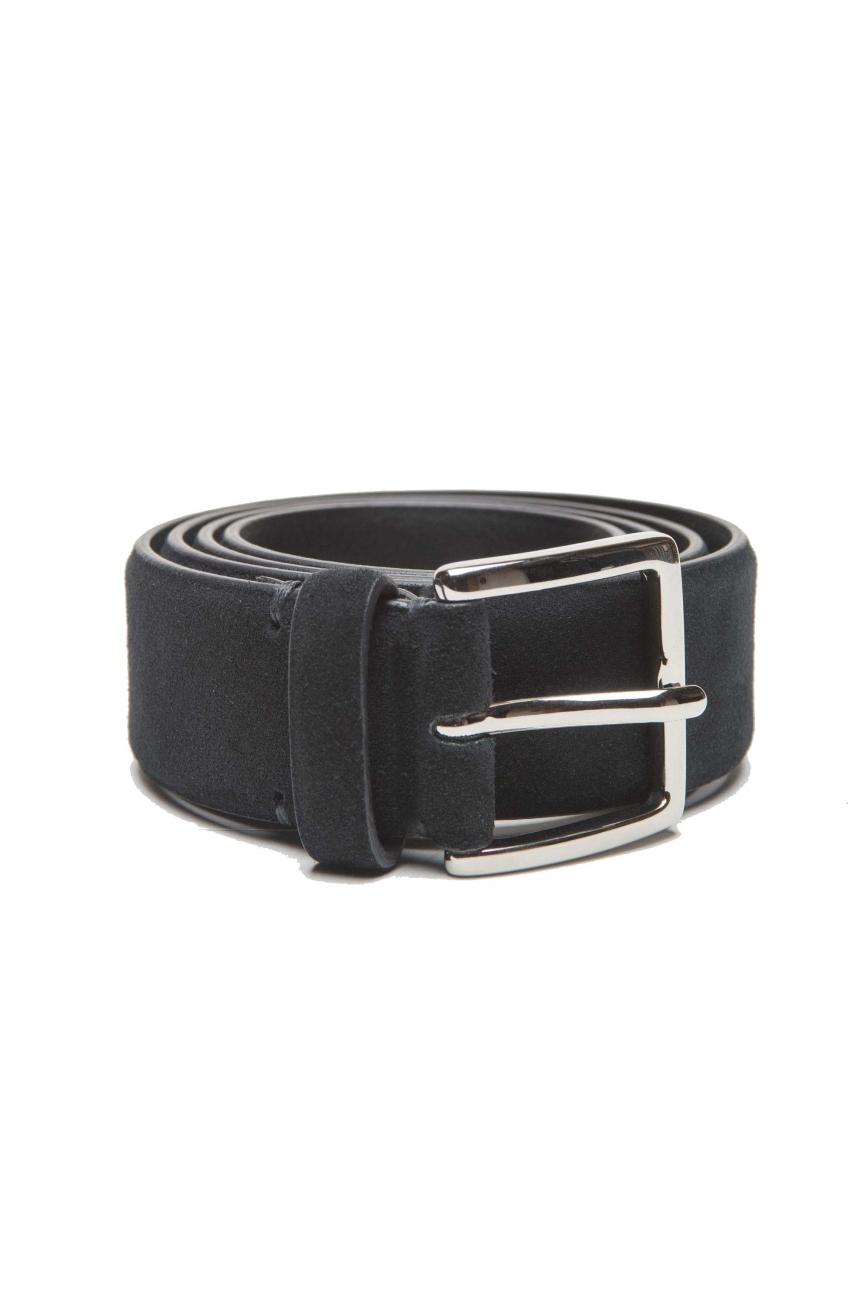 SBU 03011_2020AW Blue calfskin suede belt 1.4 inches  01
