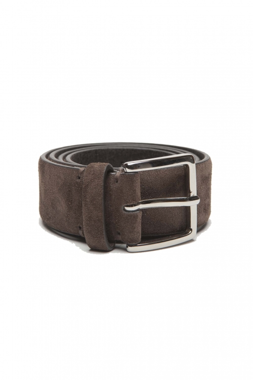 SBU 03012_2020AW Brown calfskin suede belt 1.4 inches  01