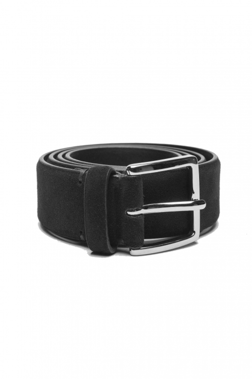 SBU 03013_2020AW Black calfskin suede belt 1.4 inches  01