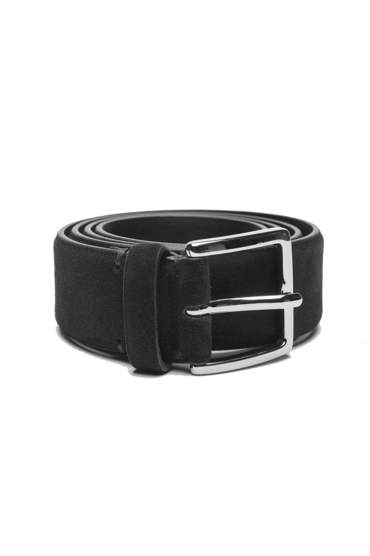 SBU 03013_2020AW Black calfskin suede belt 1.4 inches  01