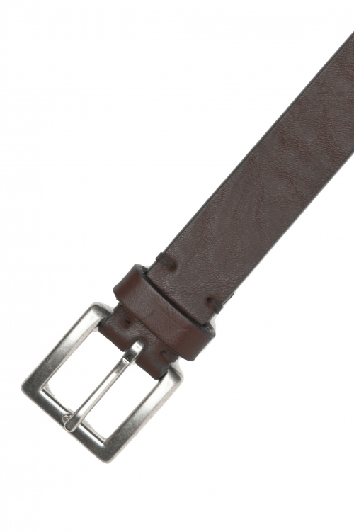 SBU 03016_2020AW Brown bullhide leather belt 0.9 inches 01