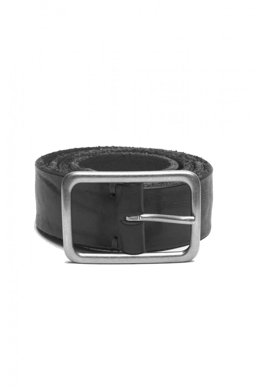 SBU 03017_2020AW Black bullhide leather belt 1.4 inches 01