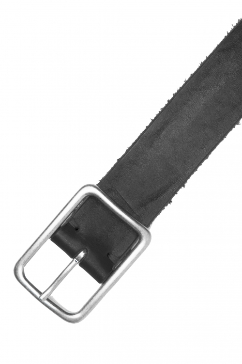 SBU 03017_2020AW Black bullhide leather belt 1.4 inches 01