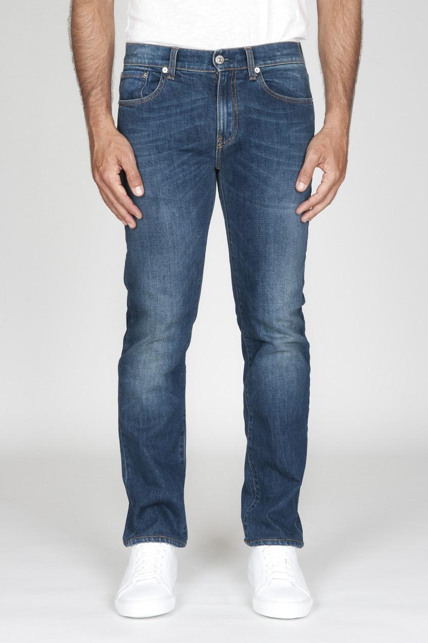 Original Indigo Dyed Japanese Stretch Denim Stone Washed Blue Jeans