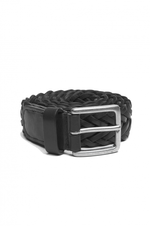 SBU 03020_2020AW Cintura in pelle intrecciata altezza 3.5 cm nera 01