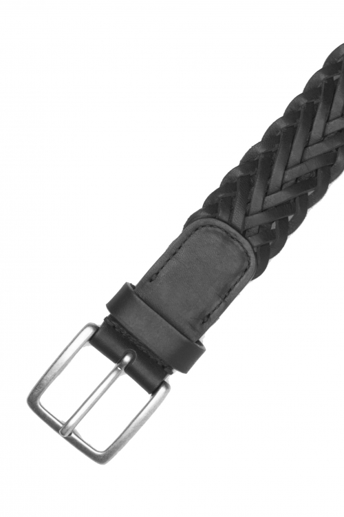 SBU 03020_2020AW Black braided leather belt 1.4 inches  01