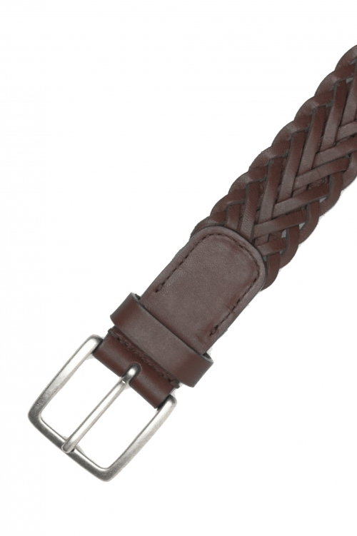 SBU 03022_2020AW Cintura in pelle intrecciata altezza 3.5 cm marrone 01