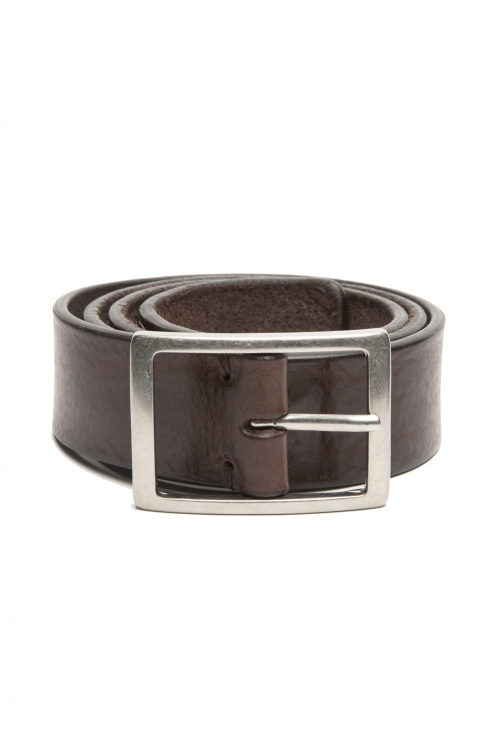 SBU 03027_2020AW Brown bullhide leather belt 1.4 inches 01