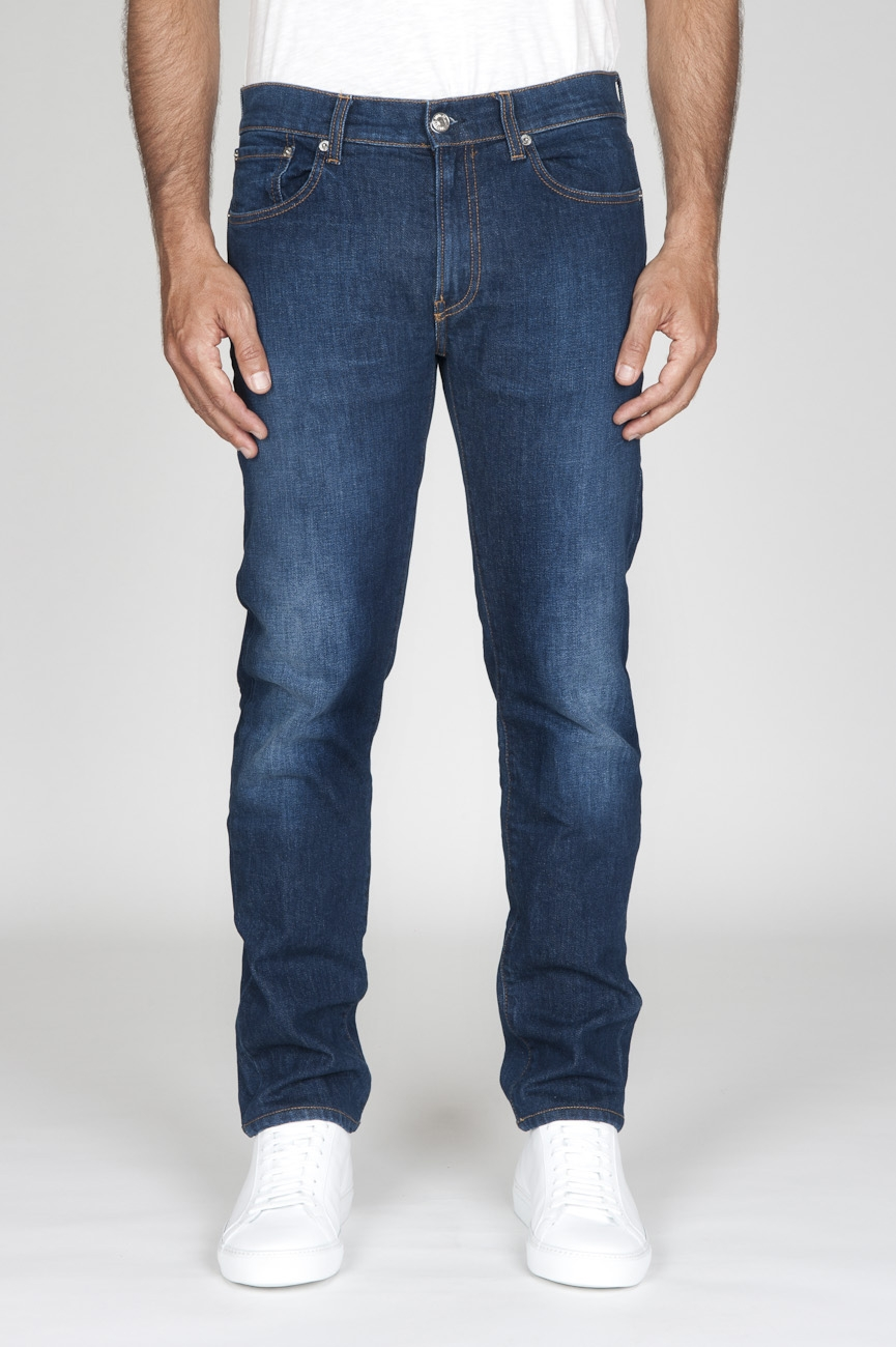 SBU - Strategic Business Unit - Original Indigo Dyed Japanese Stretch Denim Stone Washed Blue Jeans