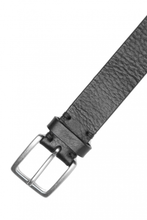 SBU 03028_2020AW Black bullhide tumbled leather belt 1.2 inches 01