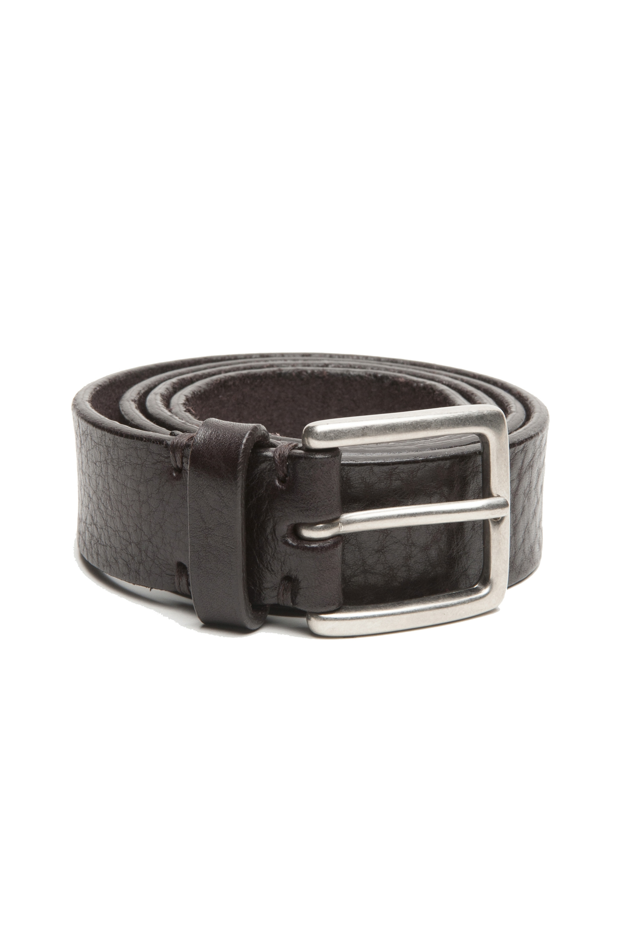 SBU 03029_2020AW Brown bullhide tumbled leather belt 1.2 inches 01