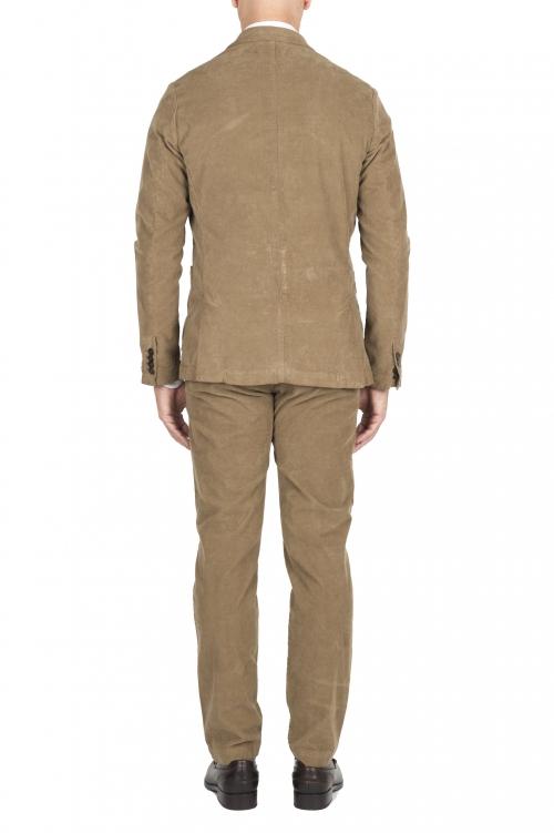 SBU 03032_2020AW Blazer y pantalón de traje deportivo de pana elástico beige 01