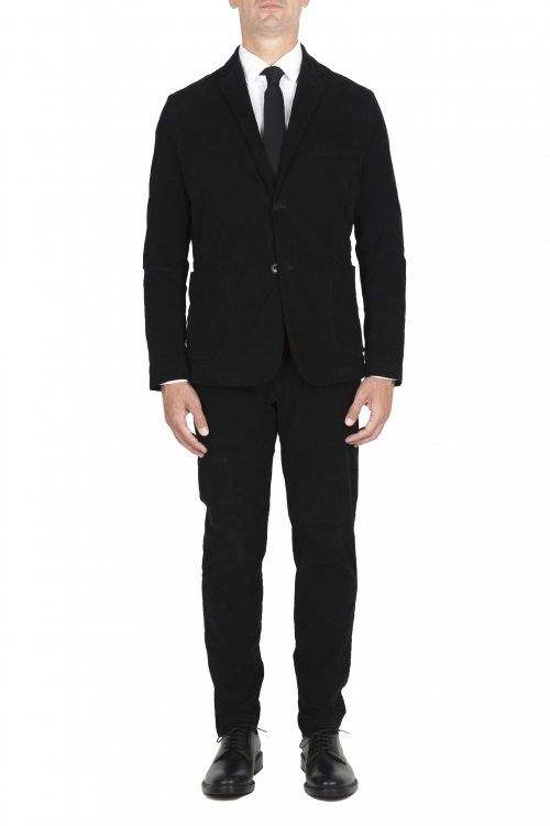 SBU 03035_2020AW Blazer y pantalón de traje deportivo de pana elástico negro 01