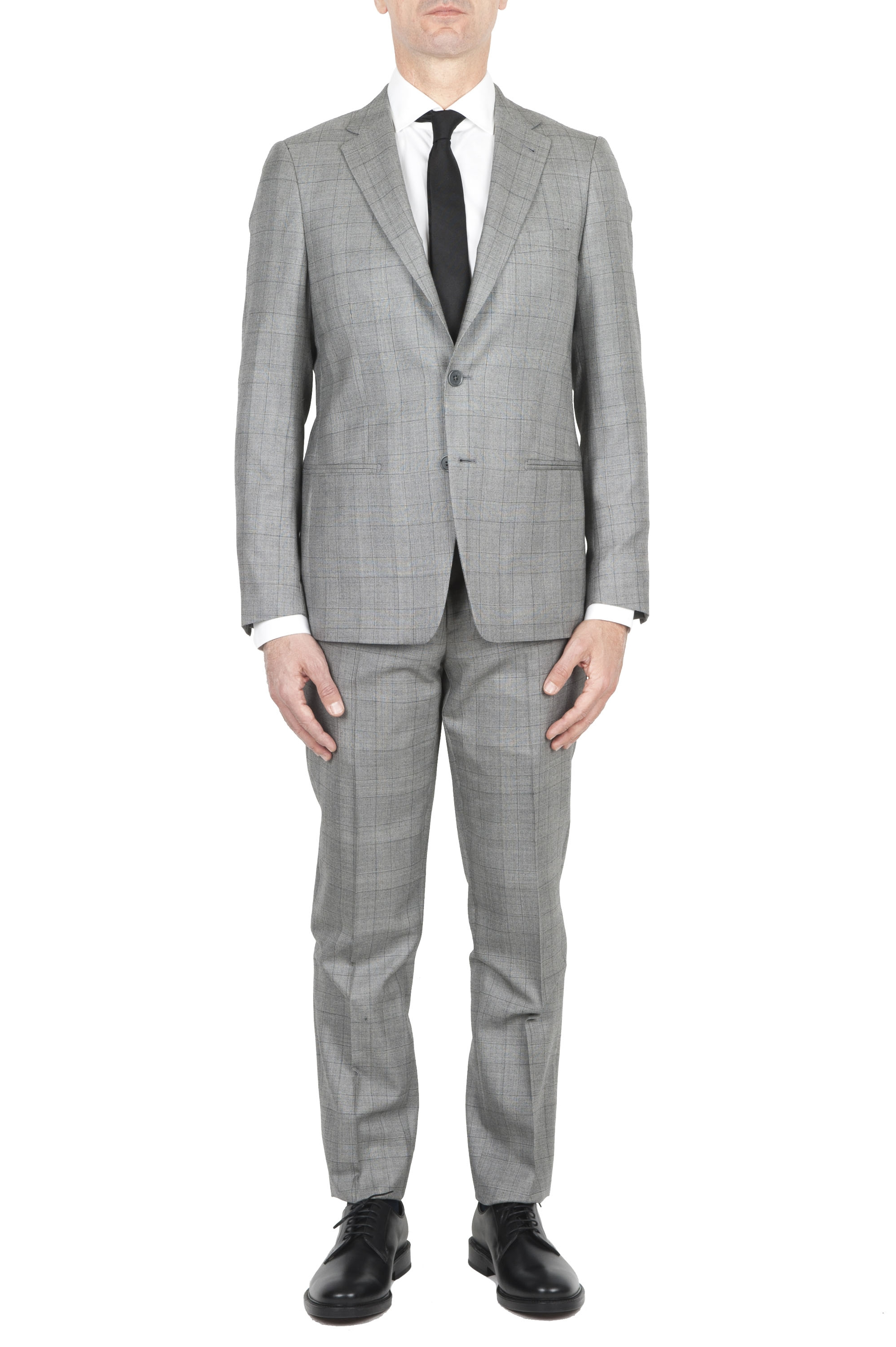 SBU 03036_2020AW Men's grey prince of Wales cool wool formal suit blazer and trouser 01
