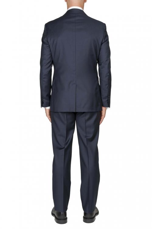 SBU 03038_2020AW Blazer y pantalón formal de lana fresca azul para hombre 01
