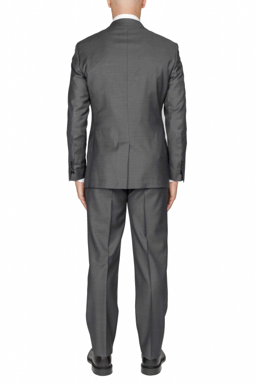SBU 03045_2020AW Blazer et pantalon de costume gris en fresco de laine pour hommes 01