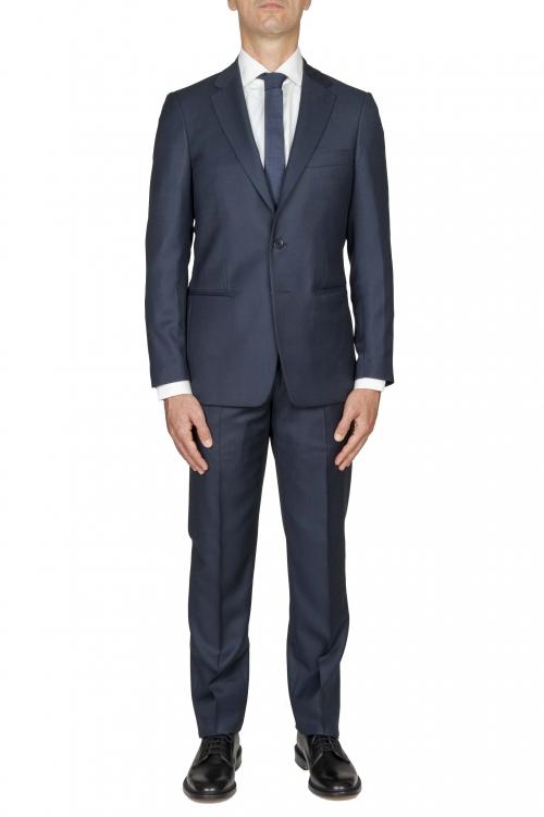 SBU 03047_2020AW Blazer et pantalon de costume bleu en fresco de laine oeil de perdrix pour hommes 01