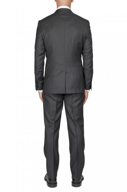 SBU 03048_2020AW Blazer et pantalon de costume gris en fresco de laine oeil de perdrix pour hommes 01