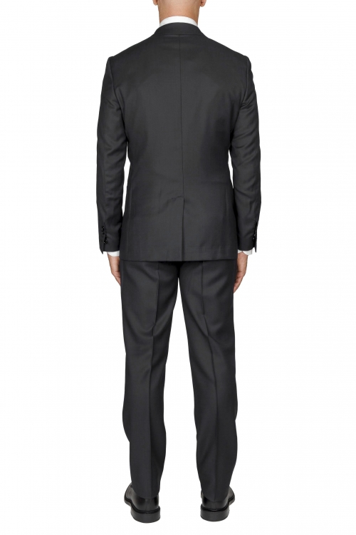 SBU 03049_2020AW Blazer et pantalon de costume gris foncé en fresco de laine oeil de perdrix pour hommes 01