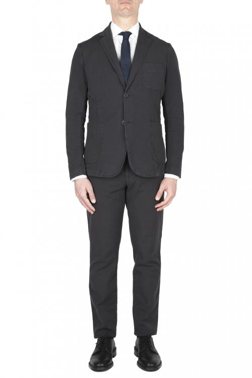 SBU 03050_2020AW Blazer y pantalón de traje deportivo de algodón antracita 01