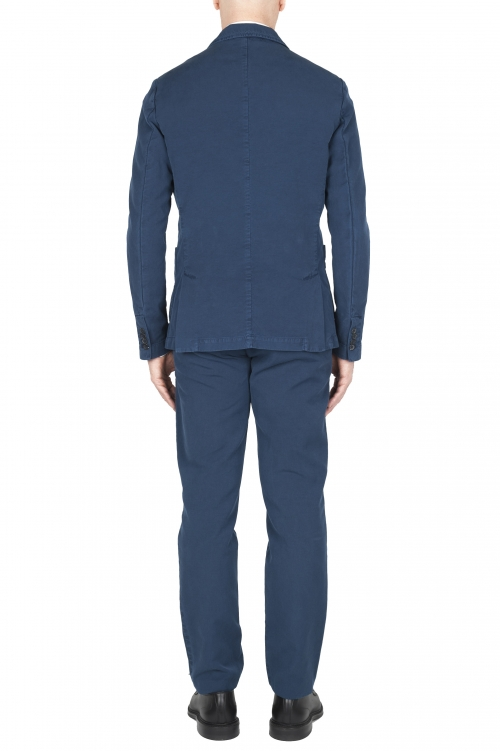 SBU 03051_2020AW Pantalon et blazer de costume de sport en coton bleu 01