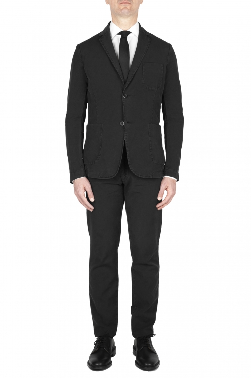 SBU 03053_2020AW Blazer y pantalón de traje deportivo de algodón negro 01