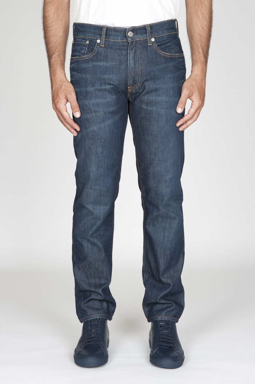 SBU - Strategic Business Unit - Jeans Cotone Tinto Indaco Denim Giapponese Stone Washed Blue