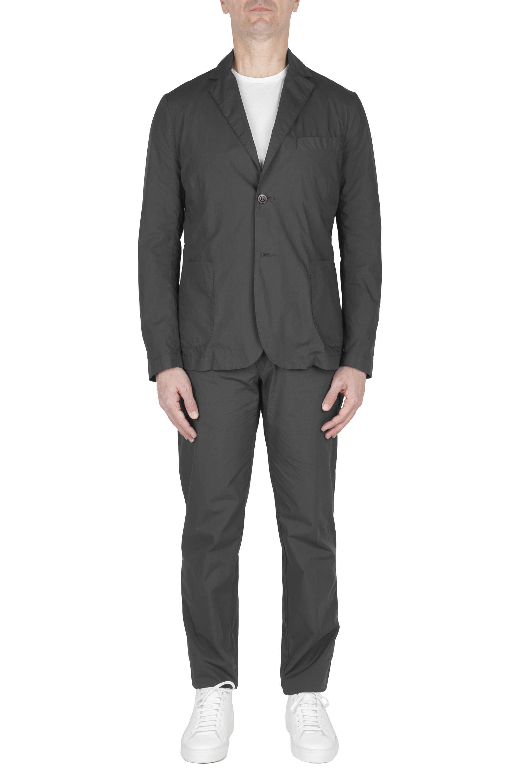 SBU 03058_2020AW Dark grey cotton sport suit blazer and trouser 01