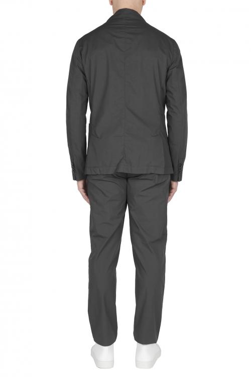 SBU 03058_2020AW Chaqueta y pantalón de traje deportivo de algodón gris oscuro 01