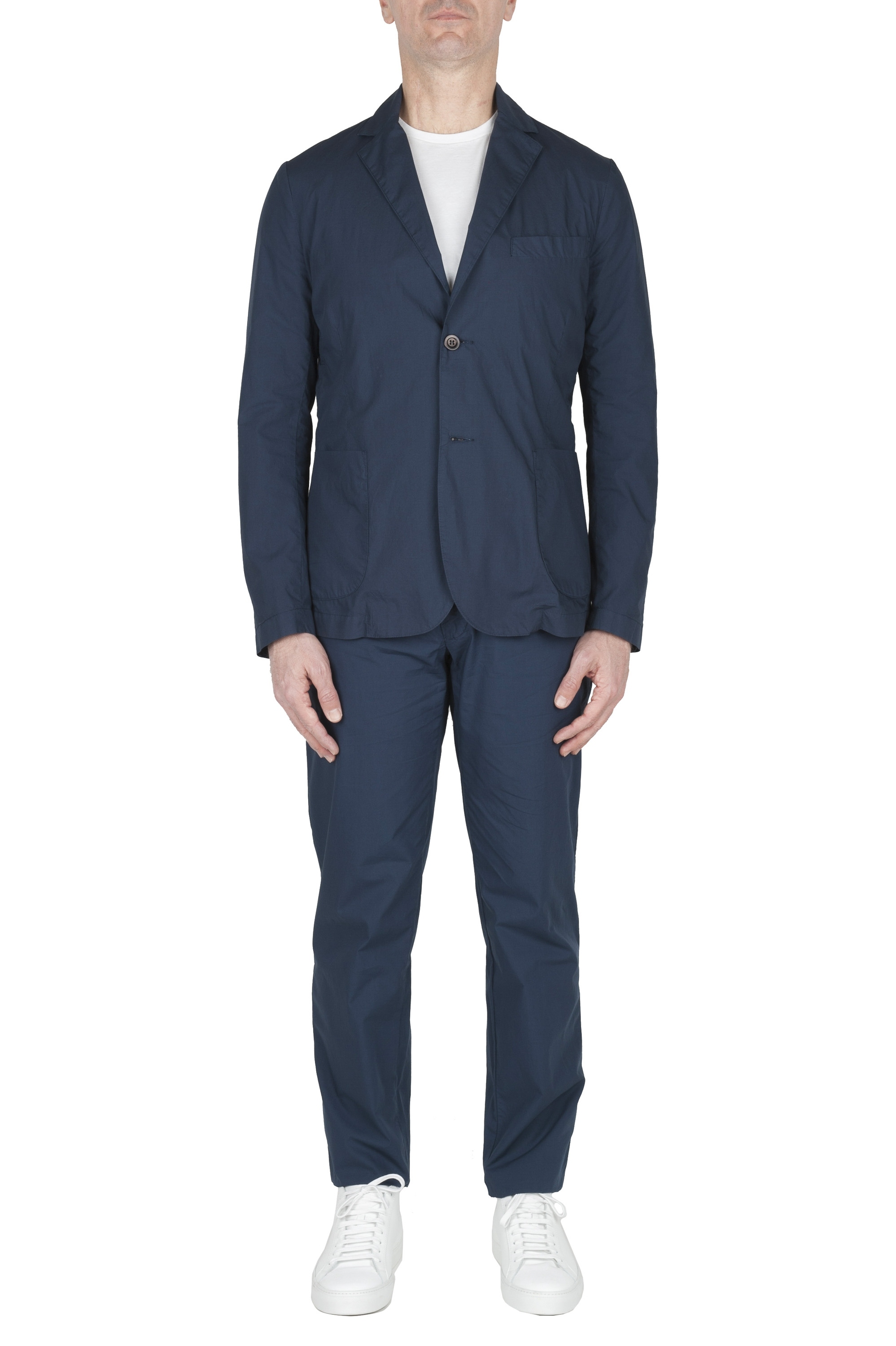 SBU 03059_2020AW Blue cotton sport suit blazer and trouser 01