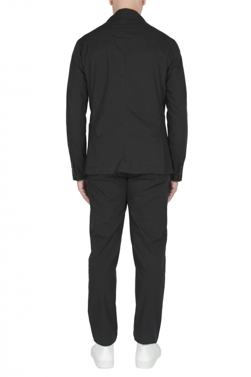 SBU 03061_2020AW Chaqueta y pantalón de traje deportivo de algodón negro 01