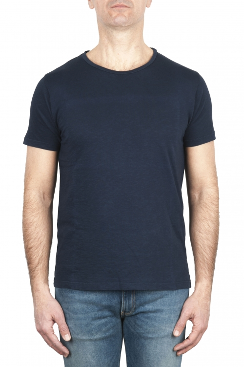 SBU 03062_2020AW Flamed cotton scoop neck t-shirt blue navy 01