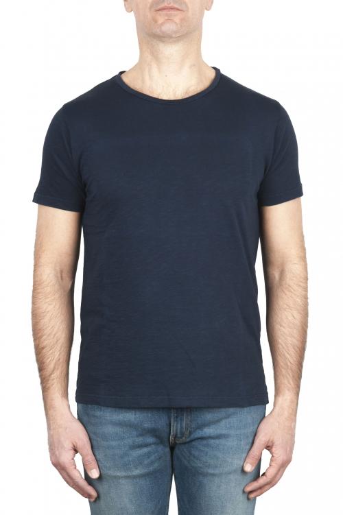 SBU 03062_2020AW T-shirt girocollo aperto in cotone fiammato blu navy 01