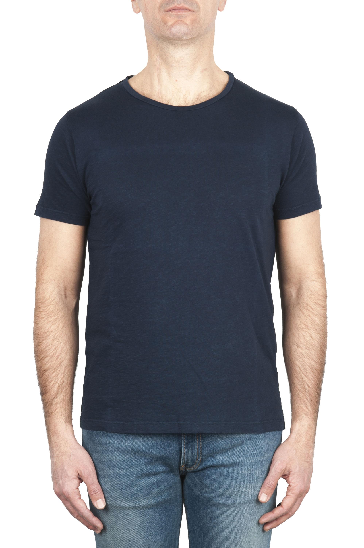 SBU 03062_2020AW Flamed cotton scoop neck t-shirt blue navy 01