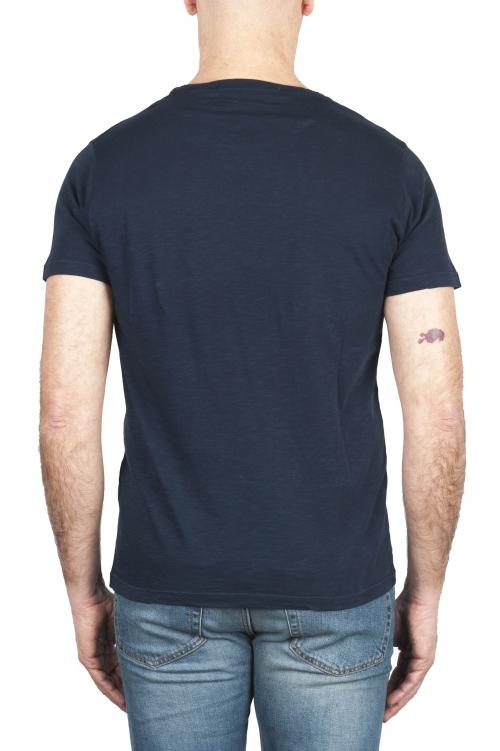 SBU 03062_2020AW T-shirt à col rond en coton flammé bleu marine 01