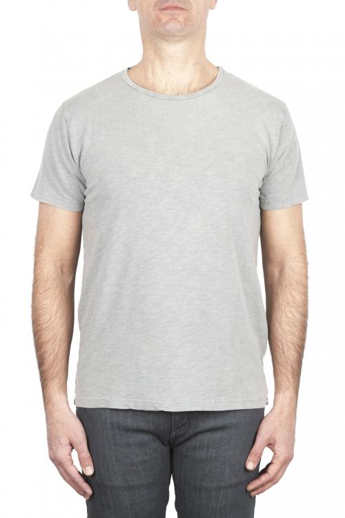 SBU 03063_2020AW T-shirt à col rond en coton flammé gris perle 01