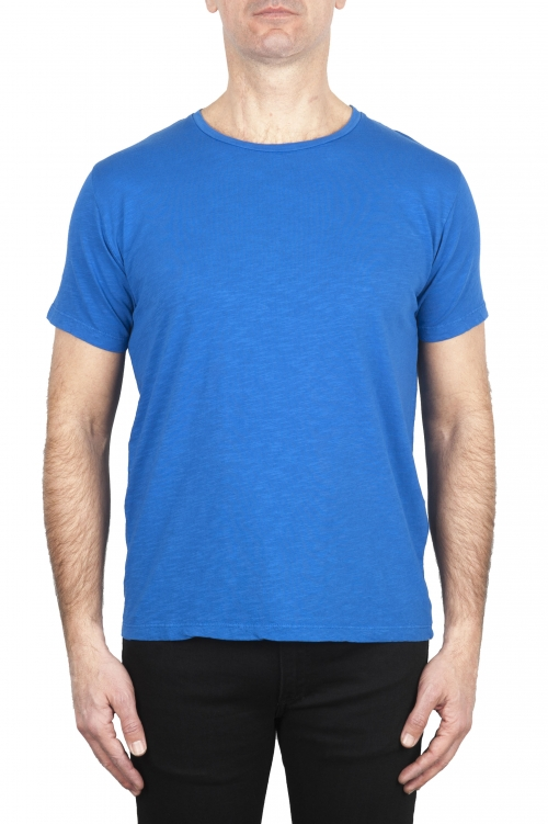 SBU 03064_2020AW Flamed cotton scoop neck t-shirt China blue 01