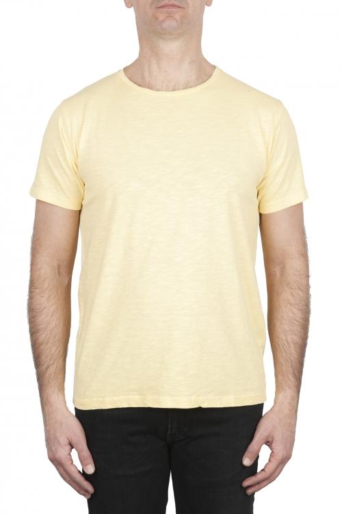 SBU 03065_2020AW T-shirt girocollo aperto in cotone fiammato gialla 01