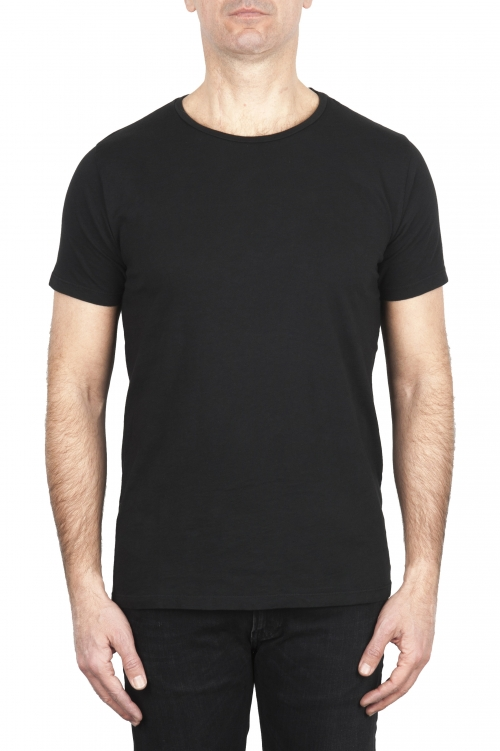 SBU 03066_2020AW Flamed cotton scoop neck t-shirt black 01