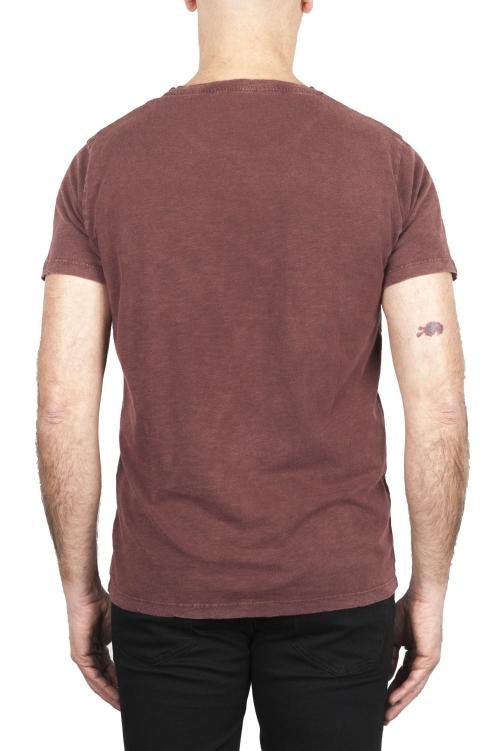 SBU 03069_2020AW Camiseta de algodón con cuello redondo en color rojo ladrillo 01